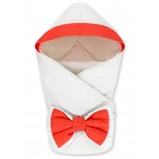 """Конверт-одеяло с капюшоном """"NewBorn"""" White & Coral"""