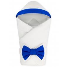 """Конверт-одеяло с капюшоном """"NewBorn"""" White & Dark Blue"""