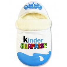 """Конверт """"Kinder Surprise"""" голубой Меховой Корона"""