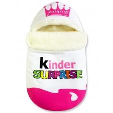 """Конверт """"Kinder Surprise"""" розовый Меховой Корона"""