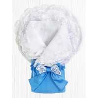 """Конверт-одеяло """"Janet"""" Голубое с Белым Кружевом"""
