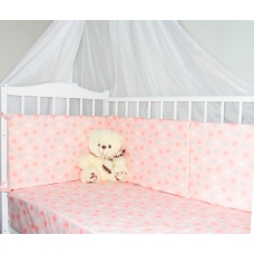 """Бортики для детской кроватки """"Звездный Микс розовый"""""""