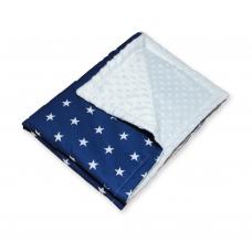 Плед плюшевый звезды на синем