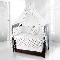 Комплект постельного белья Beatrice Bambini Cuore Grande Stella - bianco grigio