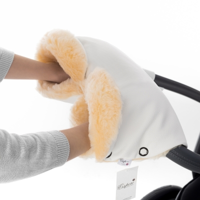 Муфта для рук на коляску Esspero Linda (100% овечья шерсть) - White