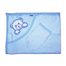 Полотенце уголком с варежкой и аппликацией, голубой