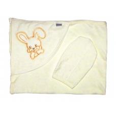 Полотенце уголком с варежкой, молочный