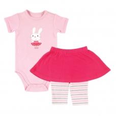 Боди к/р и юбка-леггинсы розовые