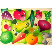 Магнитная мозаика Во саду ли, в огороде 26 деталей, 2 удочки