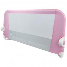 Защитный бортик для кровати на металлическом каркасе с тканью 95 см розовый