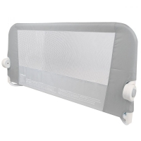 Защитный бортик для кровати на металлическом каркасе с тканью 95 см серый