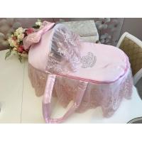 """Люлька-переноска для новорожденного """"Роскошь"""" (розовая с розовым кружевом, стразами, бантом)"""