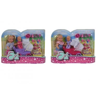 Кукла Еви с малышом на прогулке с акс