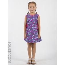 Платье для девочки без рукава, приталенное, с рельефными линиями