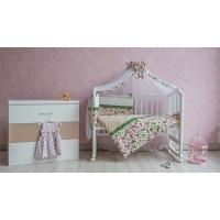 "Комплект в кроватку Polini ""Кантри"" 7 предметов 120х60, зеленый"