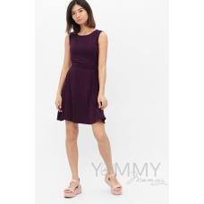 Платье с пояском темно-лиловое