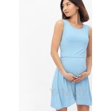Платье с пояском голубое