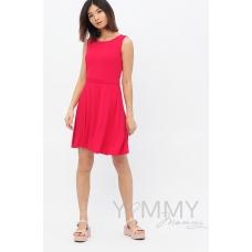 Платье с пояском фуксия