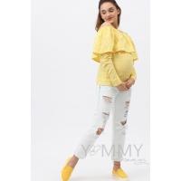 Блуза с воланом желтая с цветочным принтом