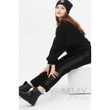 Черные брюки с кожаными лампасами с начесом универсальные