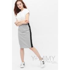 Юбка-карандаш универсальная серый меланж/черный