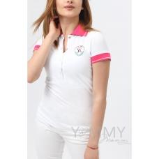 Футболка поло белая с розовым воротником