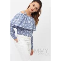 Блуза с воланом голубая с цветочным принтом