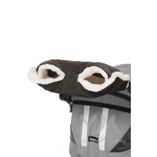 Муфта на коляску черная с мехом