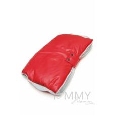 Муфта на коляску красная с серым флисом