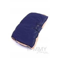 Муфта на коляску синяя с песочным флисом