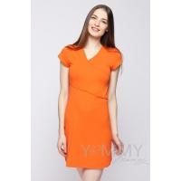 Платье кимоно для дома и сна с коротким рукавом оранжевое