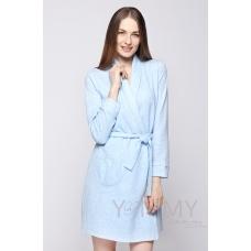 Комплект халат с сорочкой голубой