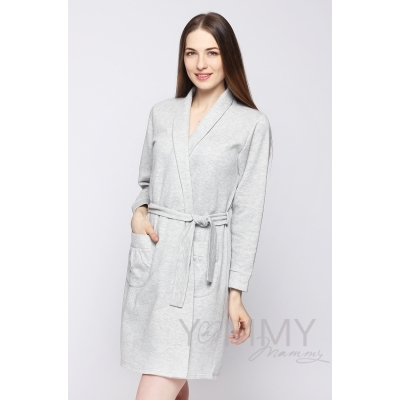 Комплект халат с сорочкой серый меланж
