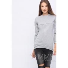 Джемпер с удлиненной спинкой серый меланж