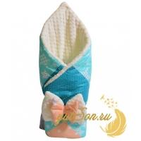 "Конверт-одеяло на выписку ""Minki"" бирюза"