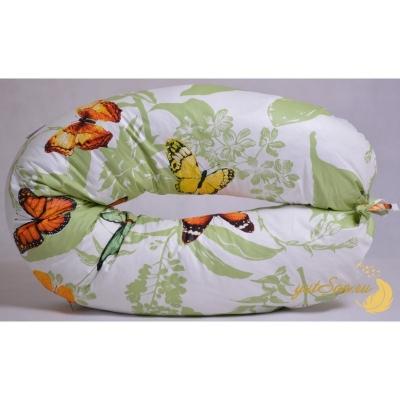 Наволочка на универсальную подушку бумеранг, узор на салатовом