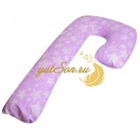 """Подушка для сна и отдыха в форме буквы """"J"""", звезды на лиловом фоне"""