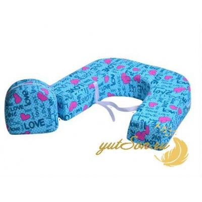 Наволочка для подушки для кормления двойни, лав на голубом
