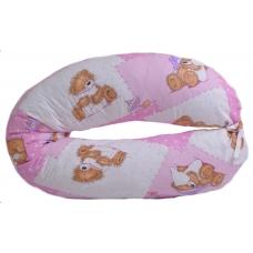 Подушка в форме бумеранга, мишки на розовом