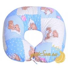Подушка для кормления, мишки на голубом