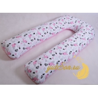 Подушка для всего тела, розовые сердца