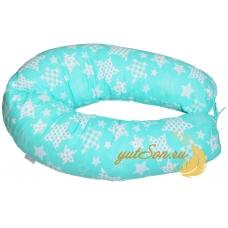 Подушка для беременных бумеранг, мятные звезды
