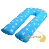Подушка для беременных, трикотаж, звезды на голубом