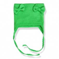 Шапочка вязаная двойная зеленая