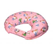 "Подушка для кормления ""Овечки и жирафики на розовом"""