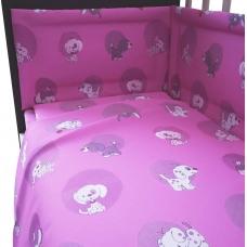 """Комплект в кроватку """"Наши друзья"""" 6 предметов, розовый"""