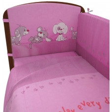 """Комплект в кроватку """"Веселая игра"""" 6 предметов, розовый"""