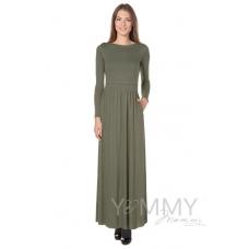 Платье длинное с карманами, вырез-лодочка хаки
