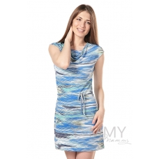 """Платье с вырезом """"качелька"""" и с пояском голубой ментол экрю"""