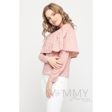 Блуза с воланом розовая белый горошек